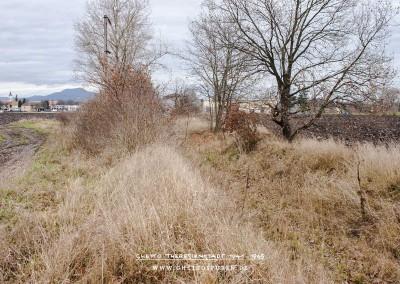 Die stillgelegte Bahntrasse, von Bäumen gesäumt, ist noch immer ein deutlich sichtbarer Einschnitt in die durch Felder geprägte Landschaft. Im Hintergrund (links) die Silhouette Terezíns mit dem markanten Kirchturm und dem Böhmischen Mittelgebirge. © WILDFISCH