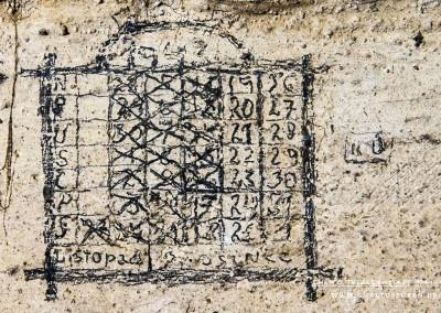 """Dieser Kalender ist kein typischer Zählkalender mit Strichen: Er hat eine klassische Aufmachung in tschechischer Sprache: Oben mittig die Jahreszahl """"1943"""". Auf der linken Seite in vertikaler Anordnung die Wochentage Sonntag bis Samstag. Unten sehen die Monate """"LISTOPAD"""" (November) und """"PROSINCE"""" (Dezember). Die Besonderheit: Er beginnt am 27. November 1943 und endet am 1. Januar 1944. Der Häftling hat jeden Tag der Haft einem Kreuz abgestrichen, am 16. Dezember zum letzten Mal. Insgesamt 20 Tage. Die Haftzeit sollte wahrscheinlich erst am 1. Januar 1944 enden. Warum nach drei Wochen der Kalender nicht mehr fortgeführt wurde, ist nicht bekannt. Überlebte die Person die Haftzeit nicht? Das wird wohl nie geklärt werden. Text: © Uta Fischer,  All rights reserved"""