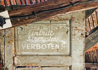 "Forbidden: Discovery in an attic. ""Entrance strictly FORBIDDEN to UNAUTHORIZED PERSONS!"" is written on the door in a German writing style of the 1940s. Where did this door lead? To whom did this restriction apply and for whom did it not? These questions have yet to be answered."