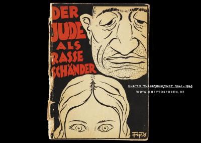 """Titelbild des Buches """"Der Jude als Rasseschänder"""", das 1934 von Julius Streicher herausgegeben wurde. Die antisemitische Karikatur schuf Philipp Rupprecht, der bekannt wurde unter dem Künstlernamen Fips.  Text: Uta Fischer © 2014, All rights reserved. Foto: © The Museum of World War II, Boston"""