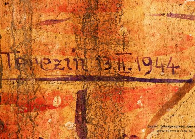 "These data written on the wall verify that these are without any doubt remnants of the ghetto time. ""Terezín 13.II.1944"" (Terezín, February 13, 1944) is a date that we may assume was written by an unknown prisoner. So far, we have no leads as to its meaning."