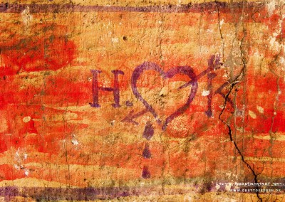 "A weeping heart pierced by an arrow is symbolic of a lost love. It hardly needs any explanation. Only the initials ""H"" and ""K"" offer but a tiny clue as to who was struck by Love's arrow. Elsewhere, measuring about half an inch in height, we find yet another graffito. This time it is a heart next to a gallows."