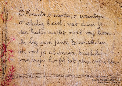 "These lines were written by a resident of this room. The verse, written with a pencil in Dutch, tells us about a sleepless night. ""Oh bedbug, oh bedbug, oh thou ugly beast, thou dances all night upon me. I lie, the itching […] I feel you creeping. From head to my toes."" Bedbugs and fleas were a constant plague in the ghetto making nights unbearable for many of the prisoners. Although the ghetto's Jewish self-administration made efforts to address the problem, the plague of bugs continued unabated."