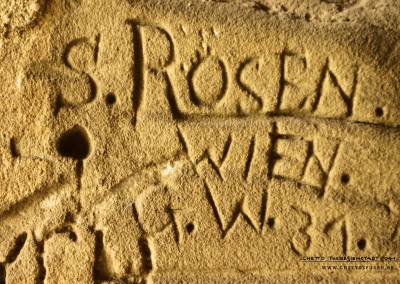 "Obituary: The inscription ""S. Rosen, Vienna, G.W. 31"" points to Samuel Rosen from Vienna (18 October 1878 – 1944). He was deported to Theresienstadt on 1 October 1942. He was a member of the ghetto guard who apparently had duty at Poterne III. On 28 October 1944 he left the ghetto with the last transport headed for Auschwitz-Birkenau. Rosen, 66, did not survive."