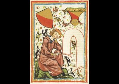 Herr Heinrich von Veldeke, Miniatur des Codex Manesse. Foto: © Große Heidelberger Liederhandschrift (Codex Manesse), http://digi.ub.uni-heidelberg.de/diglit/cpg848/0055