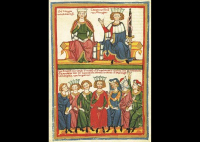 """Klingsor von Ungarland, Miniatur des Codex Manesse: Das zweigeteilte Bild zeigt oben den Landgrafen Hermann von Thüringen und seine Frau. Darunter ist eine Gruppe von sieben Dichtern: Klingsor von Ungarland (in der Mitte), Herr Walther von der Vogelweide, Herr Wolfram von Eschenbach, Herr Reiman der Alte, der tugendhafte Schreiber und Heinrich von Ofterdingen. Nach der Dichtung könnte die siebte Person Biterolf sein. Er wird in der Miniatur jedoch nicht namentlich genannt.* *Walther, Ingo F.: """"Codex Manesse. Die Miniaturen der Großen Heidelberger Liederhandschrift"""", Frankfurt am Main: Insel Verlag 1988, S. VIII. Text: Uta Fischer © 2014, All rights reserved. Foto: © Große Heidelberger Liederhandschrift (Codex Manesse),http://digi.ub.uni-heidelberg.de/diglit/cpg848/0434: Große Heidelberger Liederhandschrift (Codex Manesse),http://digi.ub.uni-heidelberg.de/diglit/cpg848/0434"""
