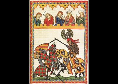 Herr Walther von Klingen, Miniatur des Codex Manesse. Foto: © Große Heidelberger Liederhandschrift (Codex Manesse),http://digi.ub.uni-heidelberg.de/diglit/cpg848/0099