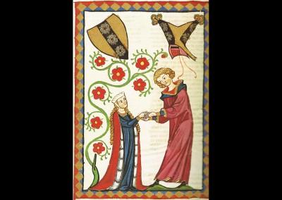 Herr Brunwart von Augheim, Miniatur des Codex Manesse. Foto: © Große Heidelberger Liederhandschrift (Codex Manesse), http://digi.ub.uni-heidelberg.de/diglit/cpg848/0512