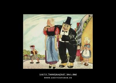 """Illustration aus dem Kinderbuch """"Trau keinem Fuchs auf grüner Heid und keinem Jud auf seinem Eid"""" von Elvira Bauer. Es erschien 1936 im Stürmer Verlag."""