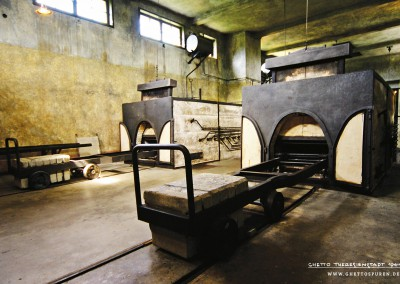 Mass Death: The picture shows two furnaces in the Theresienstadt crematorium which were operated between 1943 and 1945. Only a few months after the ghetto was established, the mortality rate was incredibly high. More than 33,000 people died in Theresienstadt, one fourth of all prisoners who passed through the ghetto. Fear of epidemics drove the SS to solve the high mortality problem by building a crematorium. Today this building is part of the Terezín Memorial and is open to the public.